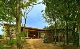 美浜の家 (庭から望む丘の上の外観)