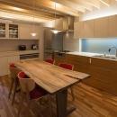 宮の沢の家の写真 ペンダントライトのある明るい2階ダイニングとキッチン