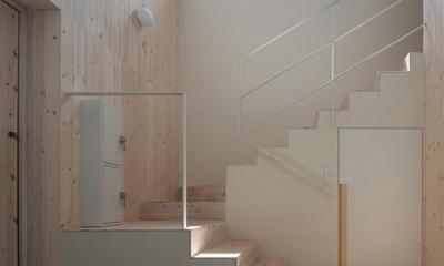 宮の沢の家 (ハイサイドライトから採光溢れる階段・玄関)