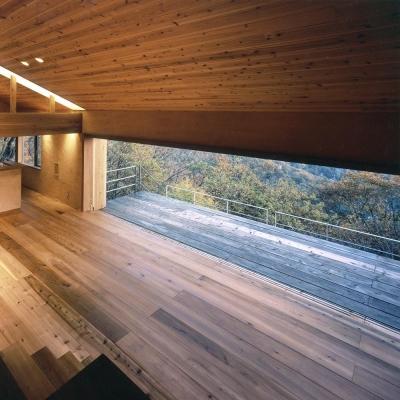 木の香る週末住宅|大開口をエントランス階から見下ろすウッドデッキと蓼科の森 (蓼科高原の家|大開口から八ヶ岳が一望できる週末住宅)
