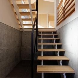 段差を繋ぐ家 (各階を繋ぐオープン型階段 1)