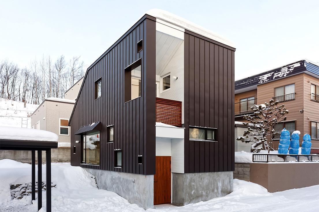 段差を繋ぐ家の部屋 カラーガルバリウム鋼板の外観
