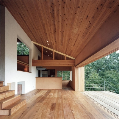 木の香る週末住宅|無垢板の天井と床のラインが奥行きを与え 白壁がアクセント (蓼科高原の家|大開口から八ヶ岳が一望できる週末住宅)