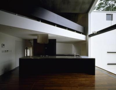 モダンな機能的なキッチン (四連の家)