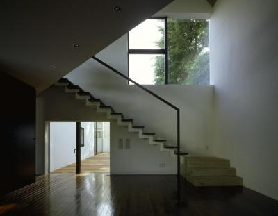 光が差し込む階段 (四連の家)