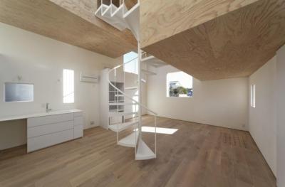 SN-house_小さな部屋の集合体 木陰のやすらぎのある家 (螺旋階段が目を引くリビング)