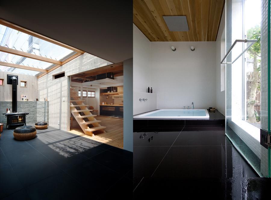 cow houseの部屋 暖炉スペース・広々としたバスルーム