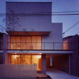 長岡京の家 Ⅰ (ライトアップした外観)
