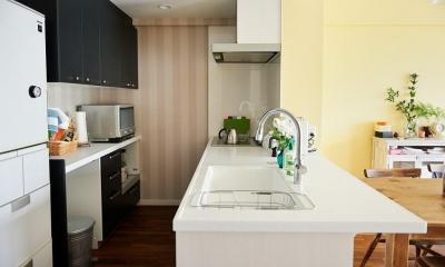 部屋によって壁の色を楽しみたい。クラシカルフレンチのような雰囲気の空間 (キッチン)