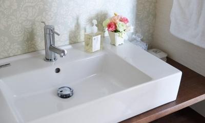 部屋によって壁の色を楽しみたい。クラシカルフレンチのような雰囲気の空間 (洗面)