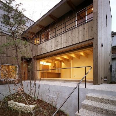 杉の家|杉格子の中庭のある家 (外観 3)