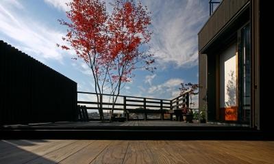 リビングから連続するウッドデッキ|書斎茶藝館