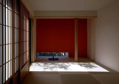 ウッドデッキに連続する和室 (書斎茶藝館)