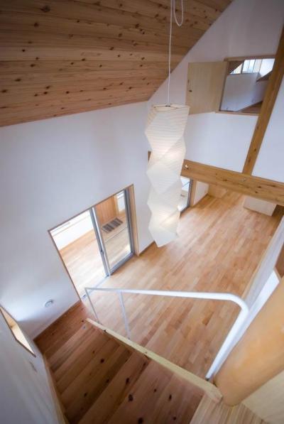 goma_House (吹き抜けから居間を見下ろす 2)