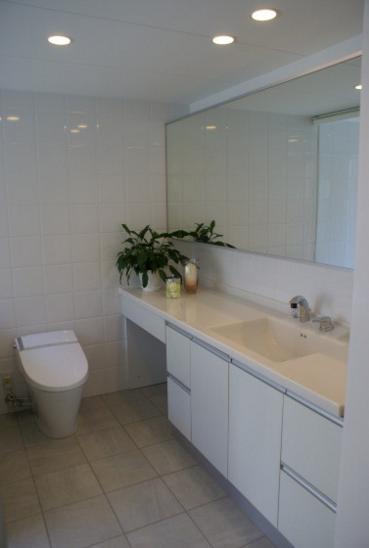 KO邸/吹抜空間のある都心のコートハウスの写真 地下室の洗面台のあるトイレ