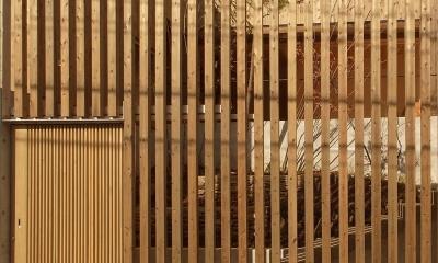 杉の家 杉格子の中庭のある家 (道路から見る 杉格子と引戸の入口)