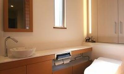 大庇の家~水平に伸びる大庇と通りに面した楽しい壁面 (トイレ)