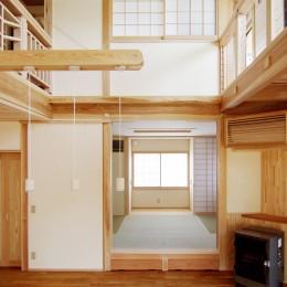 小田原の家=神奈川県 海風が通り抜ける吹抜けと大黒柱の家 (小上がりのある和室)