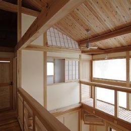小田原の家=神奈川県 海風が通り抜ける吹抜けと大黒柱の家 (廊下から吹き抜け、キャットウォーク)