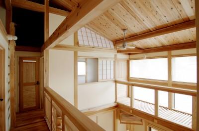廊下から吹き抜け、キャットウォーク (小田原の家=神奈川県 海風が通り抜ける吹抜けと大黒柱の家)
