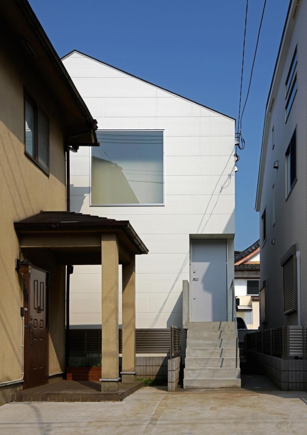 赤塚の住宅 (旗竿敷地にさりげなくすっきり佇むファサード)