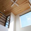 シーリングファンのある天井を見上げる