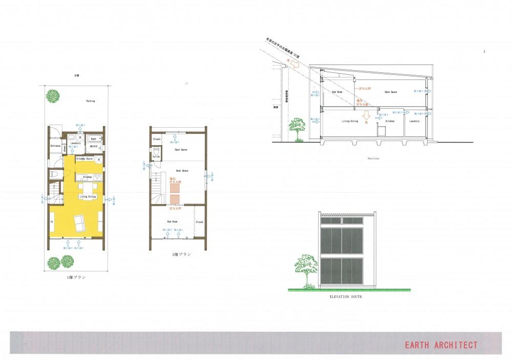 1500万円で「人生を楽しむ家」のアイデア集 (細長敷地の北側道路(お買い得な敷地)のタイプです。)