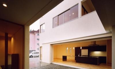 中庭と水盤のある家|上新田の家 (中庭から4mステンレス無垢坂キッチン・離れ和室を見る)