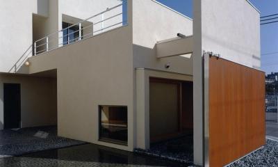 中庭と水盤のある家|上新田の家 (外観02 木製大型引戸を開放し中庭と繋がる)