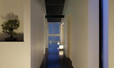 室内まで続く路地のあるゲストハウス(宇治民宿・宇治壱番宿にがうり) (通り廊下)