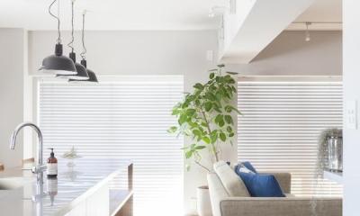 M邸 — タイルとフローリング半分ずつの部屋 (キッチン床)