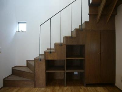ラワン合板の階段 (旗竿地のコートハウス)