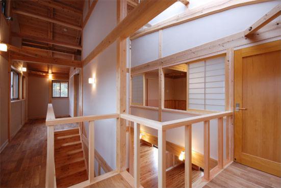N-houseの部屋 2階廊下・吹き抜け