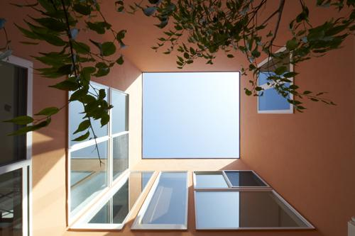 内に開く家の写真 中庭から見上げて