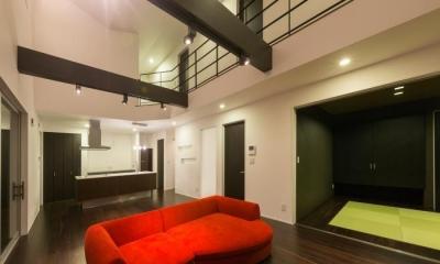 デザインにこだわったシンプルモダン住宅 (リビング)