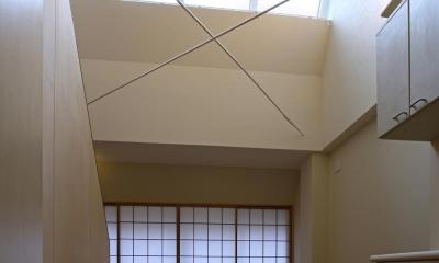 高円寺のリノベーション (既存床撤去により出現したリビング吹抜け)