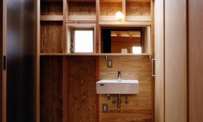 木造スケルトンの家 (洗面室)
