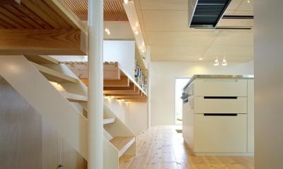 床段差の家 (階段から見たキッチン)