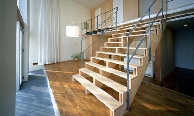 階段の家 (大階段とリビング)