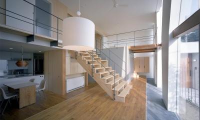 階段の家 (リビングと大階段)