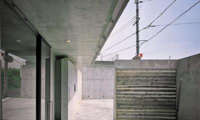 三つの中庭のある家|10mの大開口・擁壁をくり抜き地下のある家 (エントランス  中庭より 02)