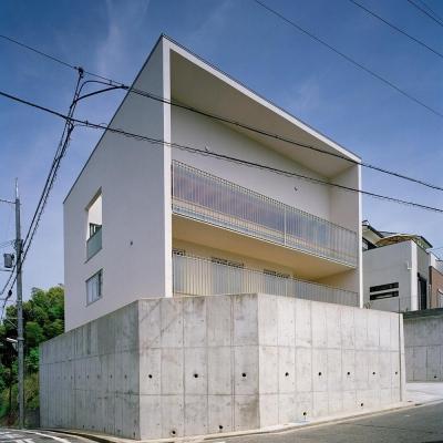 キュービックな外観  02 (三つの中庭のある家|10mの大開口・擁壁をくり抜き地下のある家)