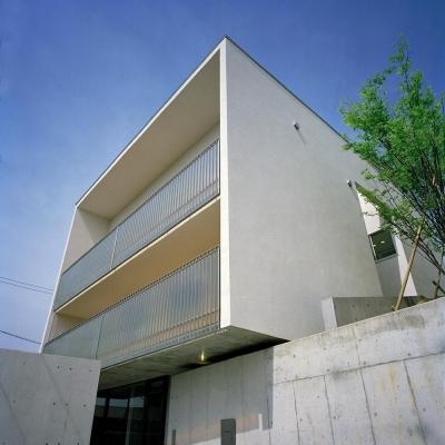 キュービックな外観  03 (三つの中庭のある家|10mの大開口・擁壁をくり抜き地下のある家)