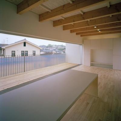 リビング (三つの中庭のある家|10mの大開口・擁壁をくり抜き地下のある家)