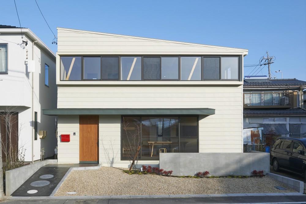 『神領の住宅』 〜 操車場を眺める水平連続窓のある家 〜 (南側から建物全体を眺める)