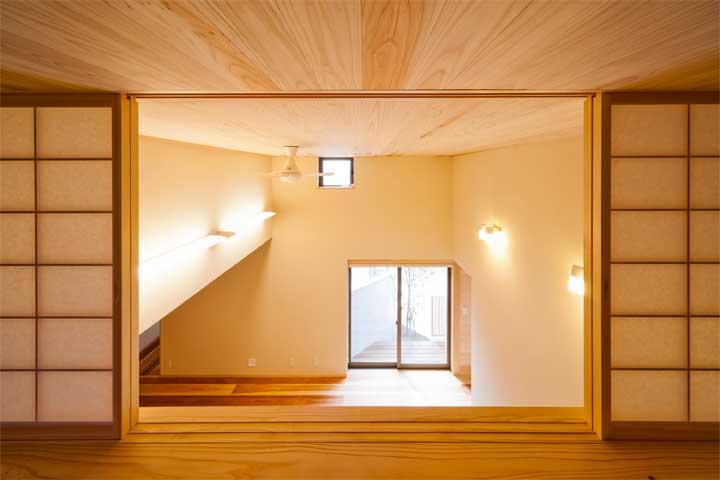 オーディオマニアの家の部屋 吹き抜けからの眺め