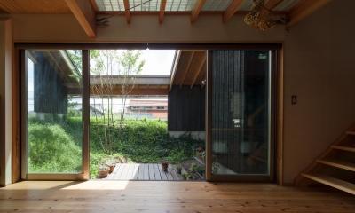 段々畑の家 (リビングと中庭)