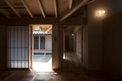 廊下から見た中庭 (Re‐町家)