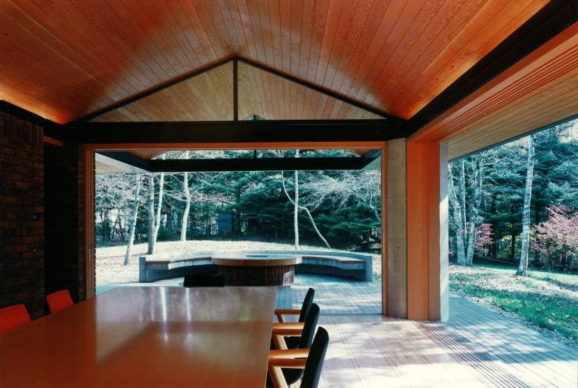 軽井沢の家1の写真 ダイニングからテラス・庭を見る