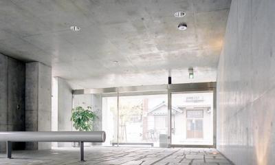 賃貸住居の屋上は中庭のあるオーナーの家|湯里の集合住宅 (エントランス04 共用部分全て四国緑石の乱貼)